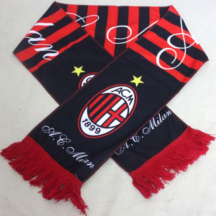 Hot! New Fashion Italy AC Milan Scarf Red-Black Soccer Neckerchief Football Fans Souvenir(China (Mainland))