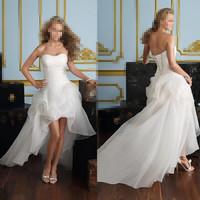 2014 New Free Shipping ! Cheap Price ! Women Sweetheart Beading Front Short Back Long White / Ivory Wedding Dresses OC3399