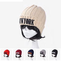 2014 HOT SELLKorean embroidery letter NEW YORK solid knit cap  Ms. warm winter wool cap
