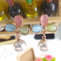 Free Shipping--Fashion Korea Design Beautiful Cat Eye Stone Imitation Pearl Ball Pendant Flower Design Stud Earrings 24pair/lot