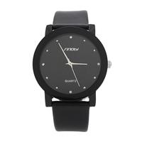 Promote  SINOBI Diamond Crystal Silver Case Elegant All Black Men Quartz Wrist Gift Dress Men's Leather Strap Watches