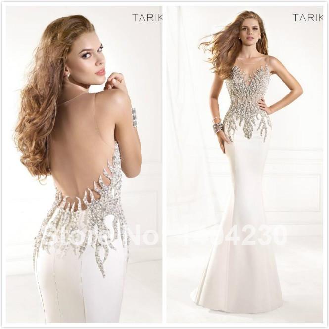 Fashion white pearls rhinestone backless long chiffon mermaid evening