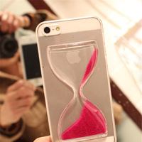 The sandglass crystal shell Quicksand transparent  phone case cover for iphone5 5s