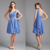 Fashion Light Purple One Shoulder Knee Length Summer Dress 2014 E54