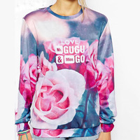 LALAS Fall 2014 new big flower print digital rendering Sweat Women wholesale D2016