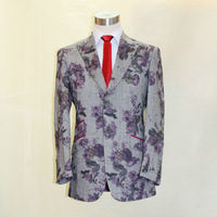 two buttons peak lapel grey wool with printed rose flower designer casual jacket bespoke tailor made  suit factory