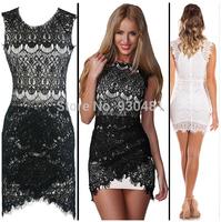 2014 Fashion Women Celebrity Lace Bodycon Dress Sexy Mini Party Bandage Slim Dresses White/Black Irregular O-neck Clubwear