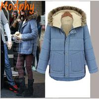 2014 women full sleeve cotton padded jackets fur hood fleece lining plus size winter warm coat drop ship ST108