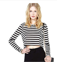 2014 Europe and America women loose O-neck short  white and black striped long-sleeved T-shirts free shipping
