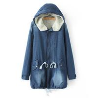 2014 new women's spring Autumn denim jacket women winter slim lamb cotton denim outerwear jeans plus size xxl xxxl 4xl
