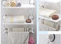 Creative Home Double-deck double rod bathroom kitchen shelves towel rack Washcloth Shelf kitchen racks Free Shipping zf117