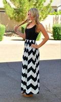 2014 Vestidos Free Shipping Vestido European And American Trade Wind Round Neck Sleeveless Summer Dress Slim Wave Pattern Long
