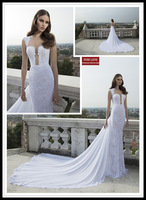 detachable train 2014 New Sexy Backless Mermaid Wedding Dress Fashion Sweetheart White Lace Wedding Dresses Berta Bridal Gown