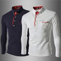 2014 Fashion New Men's long sleeve T shirt Turn-down Collar casual cotton mens shirts dots print design t shirts tops M-XXL