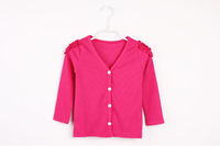 2014 Autumn Solid V Neck Girls Cardigan Sweater Long Sleeve Children Clothing Pink Green Yellow In Stock
