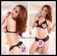 pa8008 2pcs/set sexy lingerie Open Chest Bra + Underwear lace gather slim suit  dress panties