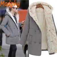 2014 women cotton padded jackets full sleeve faux fur double breast hood plus size autumn winter warm coat drop ship ST110