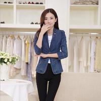 2014 spring blazer Slim denim suit plus size diamond suit wild long-sleeved denim jeans jacket for women R933