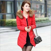 Slim Waist Thick Cotton Warm women's cotton padded jacket 2014 winter Outerwear Plus Size Women Down Jacket Parka Coats B2004