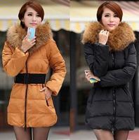 2014 Winter Women Fashion luxury large fur collar slim thickening medium-long down coat wadded jacket outerwear 4 Color B2006