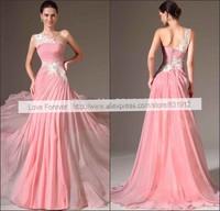 2014 New Fashion Chiffon Pink Long  Prom Dresses Sexy One Shoulder Lace Applique Floor Length Evening Dresses Vestidos de fiesta