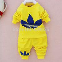 SH retail 2014 New cotton Toddlers children baby boys girls autumn spring 2pcs clothing set suit Pattern baby shirt + pants sets