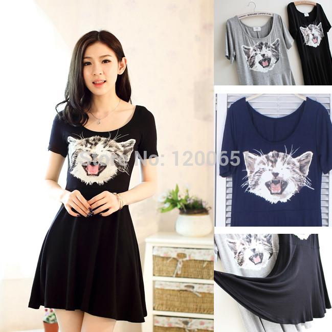 2014 New Women's Fashion Cat Head Print Casual Summer Dress Slim Dress Vestidos Free Shipping Women Dresses Alibaba Express.(China (Mainland))