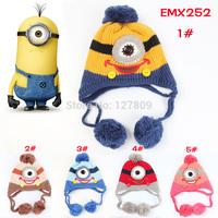 2014 New Winter Fashion Child Korean Cute Cartoon Minions Model Warm Cap,Unisex Kid Girls Knitted Beanie,Free Shipping  EMX252
