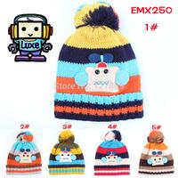 2014 New Winter Fashion Child Korean Cute Cartoon Robot Appliques Warm Cap,Unisex Kid Girls Knitted Beanie,Free Shipping  EMX250