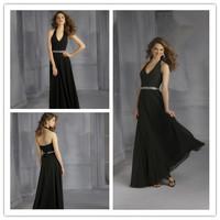 Allure Floor length A-line Halter Neck Ruched Bodice Beading Tie Sash Black Chiffon Bridesmaid Dress Adult