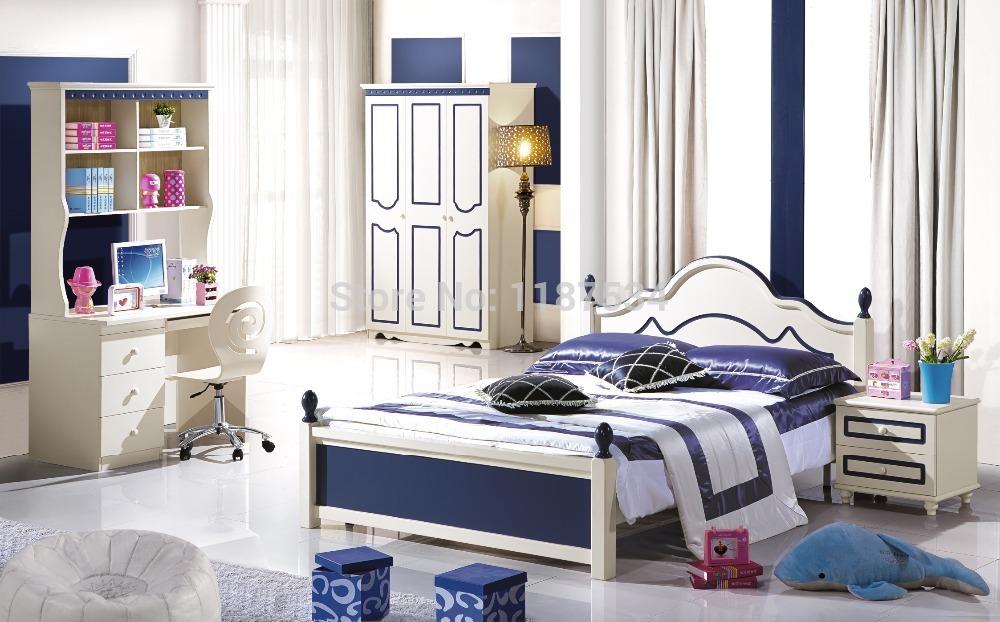 6603# Modern colorful bedroom furniture set bed nightstand wardrobe desk 4pieces furniture set(China (Mainland))