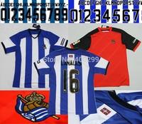 Free Shipping Best Thailand Quality Real Sociedad Soccer Jerseys 2015 Custom Zurutuza 14-15 Home Futbol Camiseta Embroider Logo