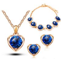 2014 18K Gold/Silver Plated Heart Shape Imitate Diamond Wedding Necklace+Earrings+Bracelet Sets Bridal Jewelry Sets For Women