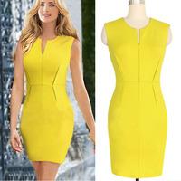 2014 European Fashion Women Sleeveless Yellow Patchwork Vintage Bodycon Pencil Dress Summer club Party Bandage Dress Vestiods