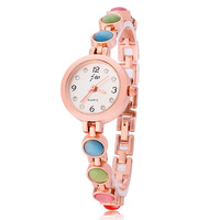 Women rhinestone watches quartz watch fashion casual steel rose gold watch luxury white charm bracelet colorful drop rubber bead