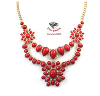 XL3318 Brand sense Chinese red artificial exaggerated personality necklace