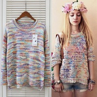 Top Quality Rainbow Winter Sweater 2014 New Women Crochet Tricotado Casual Pullover Blusas De Inverno Autumn Knitted Sweaters