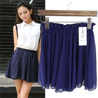 Korean Sweetness Gril Fresh Summer Candy Color High Waisted Chiffon Skirt Elastic Waist Casual All-Match Mini Saias 5127