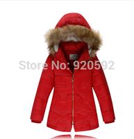 The 2014 winter new girl fashion leisure Korean high-quality fur collar jacket down jacket free shipping 90% white duck down