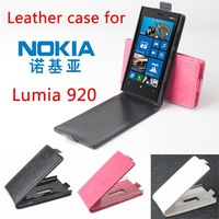 Free Shipping For NOKIA Lumia920 Slim Magnetic Closure Up and Down Flip PU Leather Case