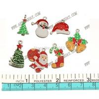 14pcs New DIY Fashion Jewelry Findings Metal  Epoxy Enamel Christmas Bell Tree Socks The Santa Claus Mixed Charms