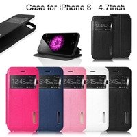 New Arrival! Ultra Thin Slim PU+PC Case for Apple iPhone 6 4.7inch Phone Stand Cover View Window Protective Skin 5 Color