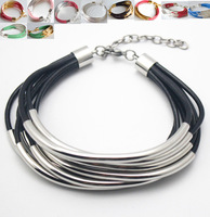 Genuine Leather Cuff Bracelet with Gold Silver Tube Beads multi-strand Bangle for women Jewelry