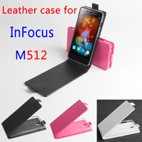New! InFocus M512 leather Case + free screen protector+Free Ship! Flip Up and Down Cover