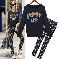 Famous Brand Clothes Trousers Sweater Women Sequines Loose Cotton Pullovers Casual Dot Print Harem Pants Fashion Sets 1251