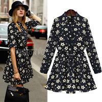 2014 Retro Style Europe Autumn Elegant Mini Dresses Slim Waist Bandage Long Sleeve Star Print Dress Celebrity Vestidos S-3XL6073