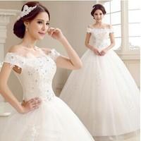 Wedding Dress 2014 Fashion Slim One Shoulder Wedding Dress for Bride Lace Up Wedding Dress Plus Size