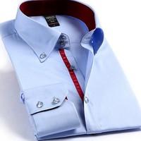 Men's 100% Cotton business  long sleeved shirt crystal diamond buckle shirt Men casual shirts M-4XL
