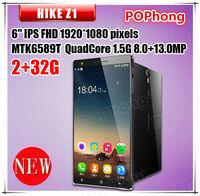 Original HIKE Z1 6 Inch IPS FHD 1920*1080 pixels MTK6589T Quad Core 2G RAM 32G ROM Rear 13.0MP Dual Camera Dual SIM Android