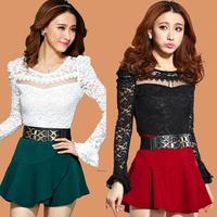 Free Shipping 2014 new lace patchwork sexy nightclub ruffle women fashion dress